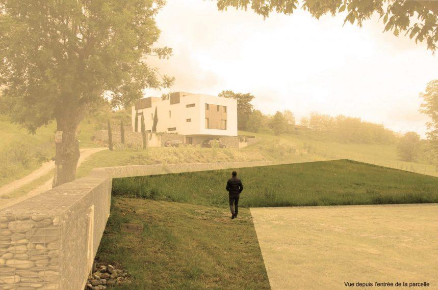 vue terrain avant projet Maison dans la colline