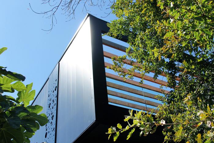 Vue de la terrasse avec pergola dans les arbres surélévation F.