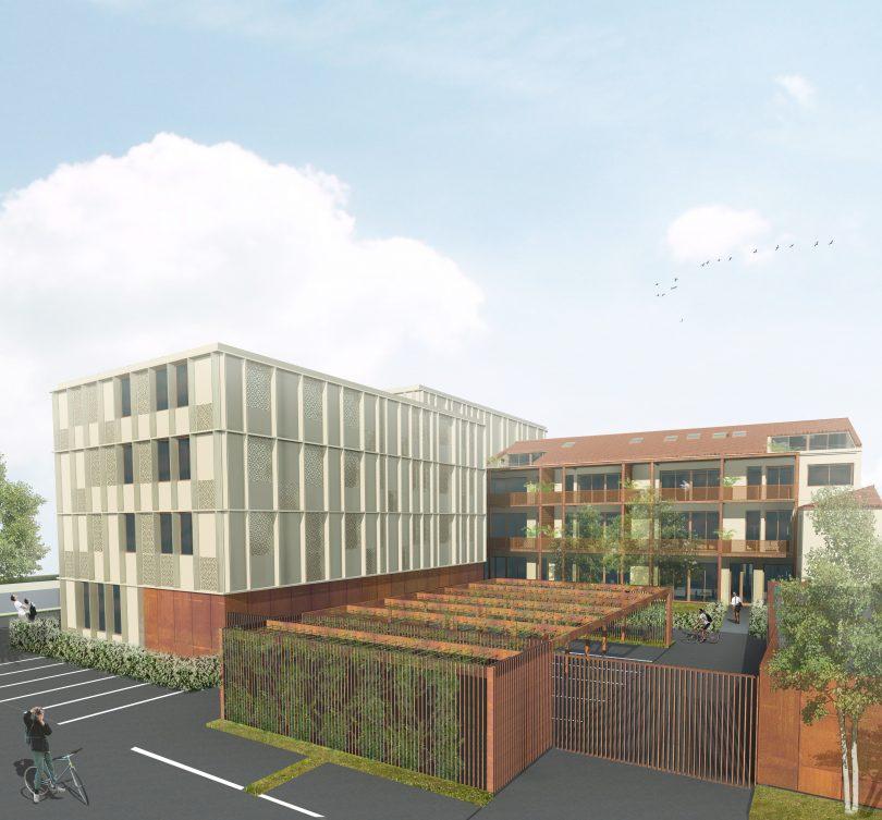 Perspective côté cour logements et bureaux Z.