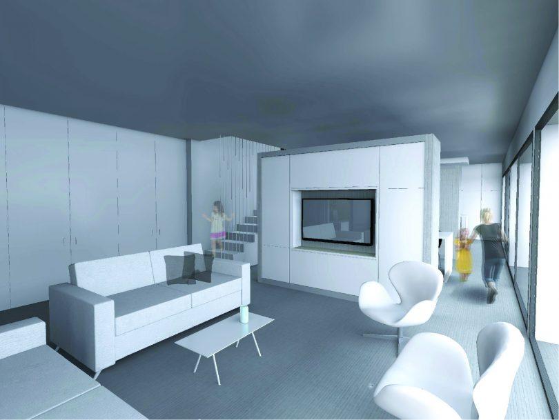 Perspective Architecture d'intérieur meuble TV design