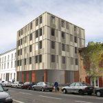 Perspective rue logements et bureaux Z.