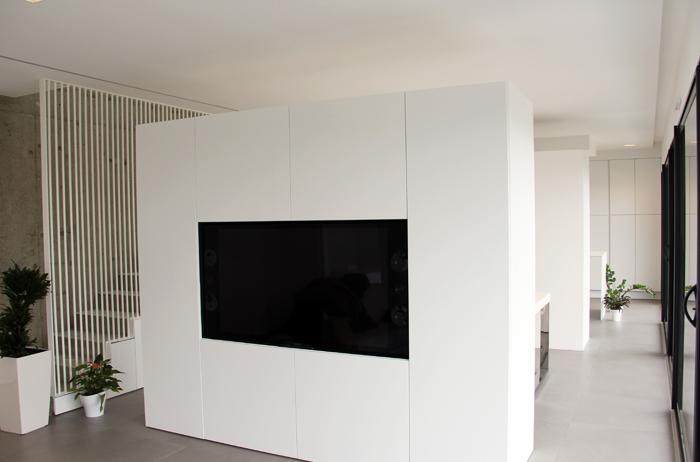 architecture d'intérieur maison N. vue meuble TV