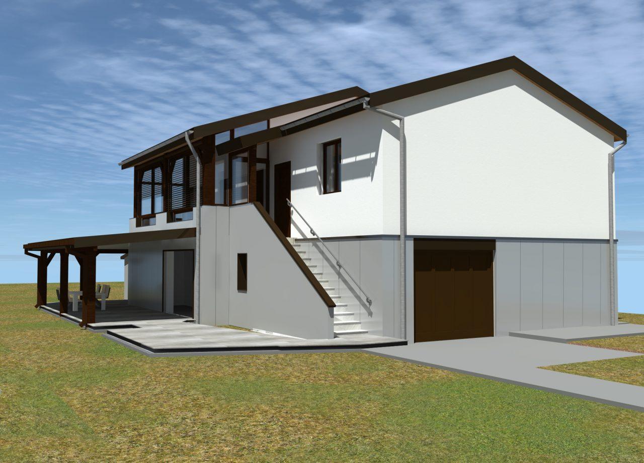 Vue projet angle côté Sud-Ouest rénovation extérieure maison R