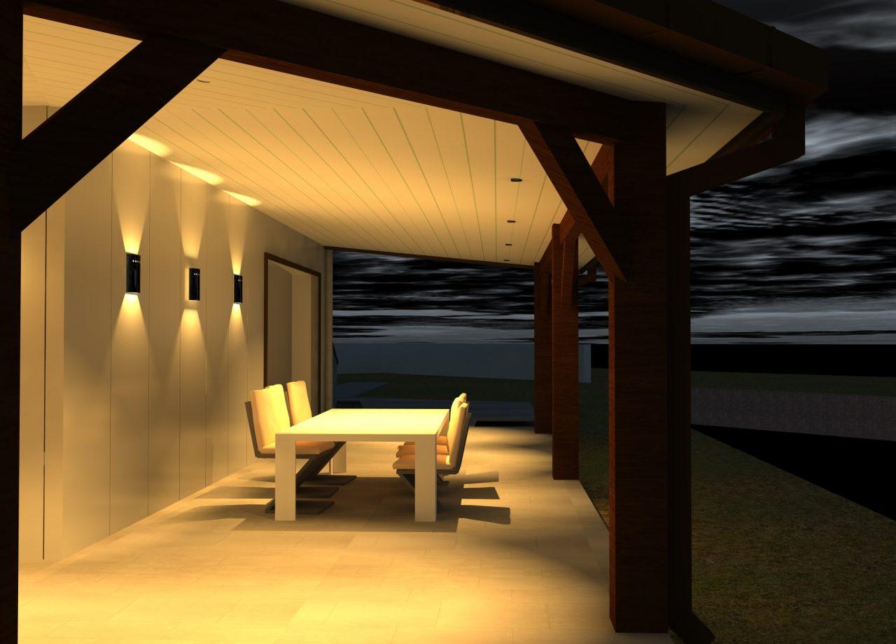 Vue projet sous terrasse côté Sud-Ouest rénovation extérieure maison R