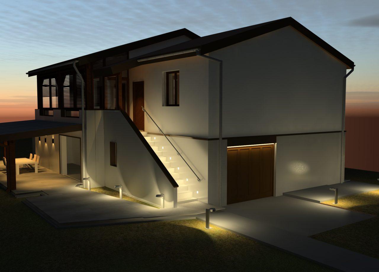 Vue projet angle côté Sud-Ouest de nuit rénovation extérieure maison R