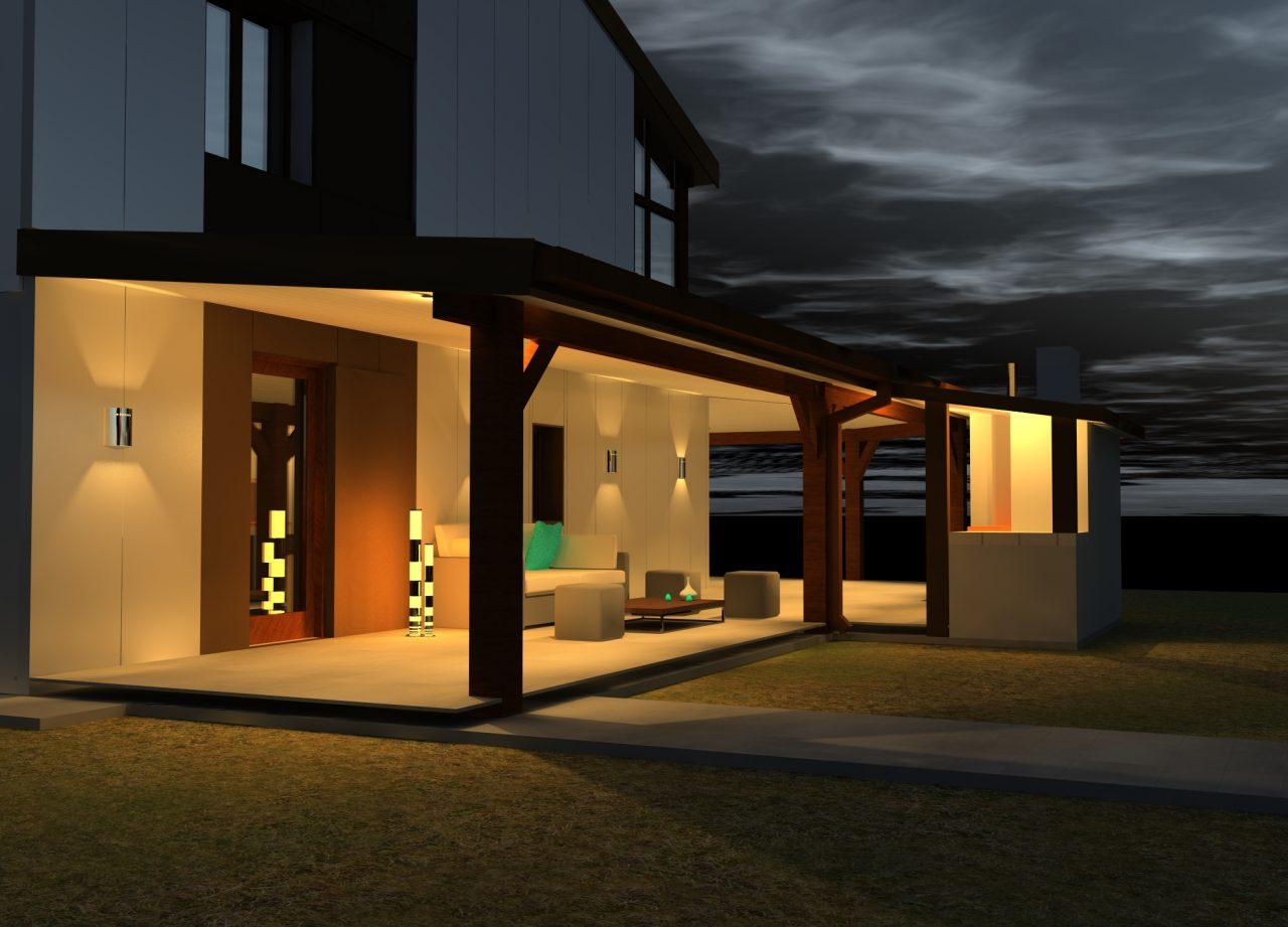 Vue projet côté Nord sous terrasse de nuit rénovation extérieure maison R