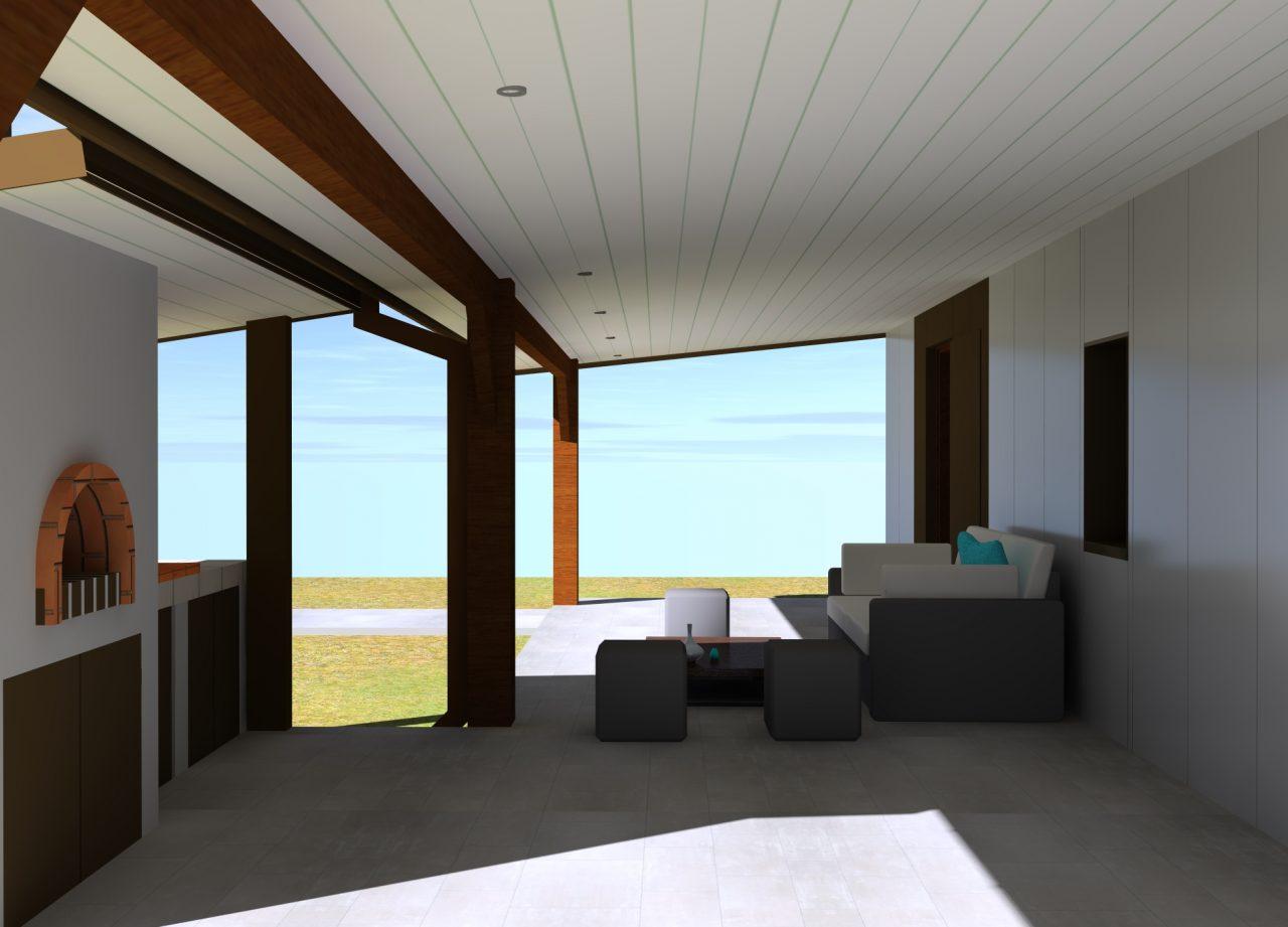 Vue projet sous terrasse côté Nord-Ouest 2 rénovation extérieure maison R
