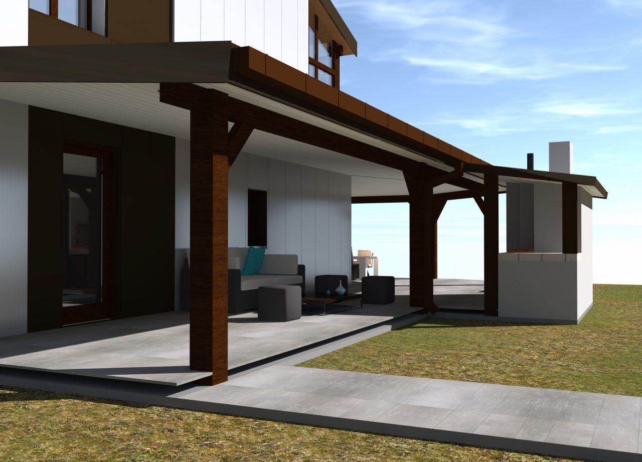 Vue projet sous terrasse côté Nord-Ouest rénovation extérieure maison R