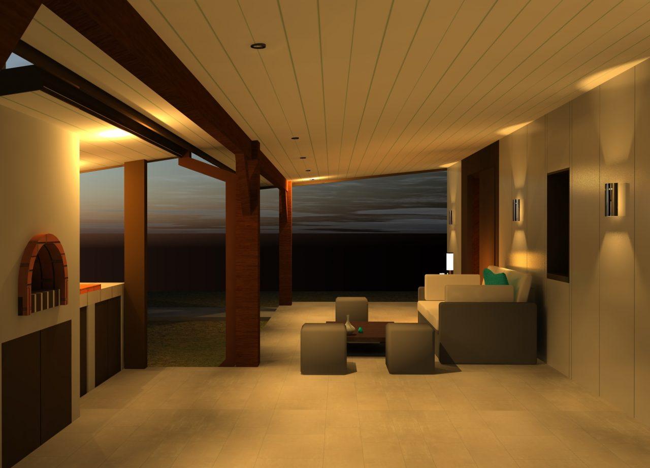 Vue projet côté Nord sous terrasse de nuit 2 rénovation extérieure maison R